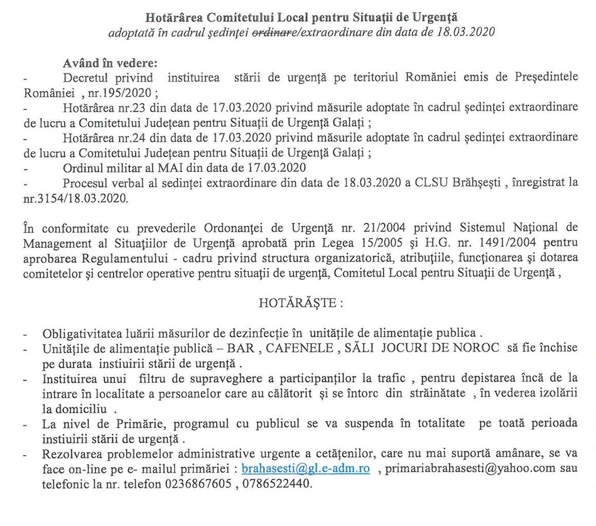 Hotararea Comitetului Local pentru Situatii de Urgenta 18.03.2020
