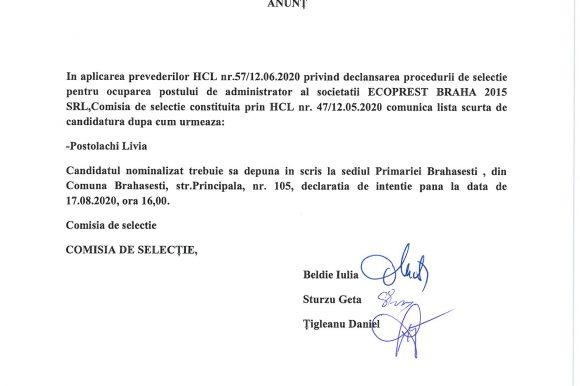 Anunt selectie administrator al ECOPREST BRAHA 2015 SRL